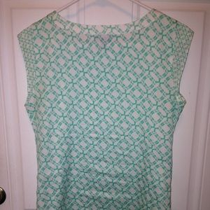 The Limited XS Green White Printed Blouse